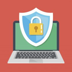 Computer security, protect your laptop concepts. Notebook and shield icon with padlock. Flat design graphic elements for web banners, web sites, printed materials, etc. Modern vector illustration